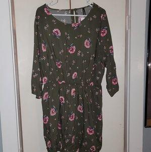 Olive green flowered dress